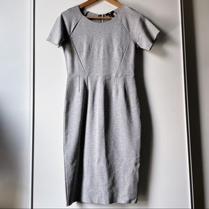 H&M short sleeve crew neck grey fitted dress